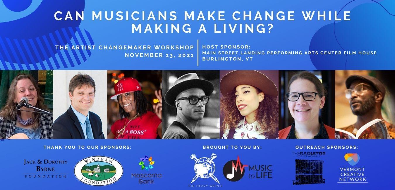 Artist Changemaker Workshop: Schedule of Events